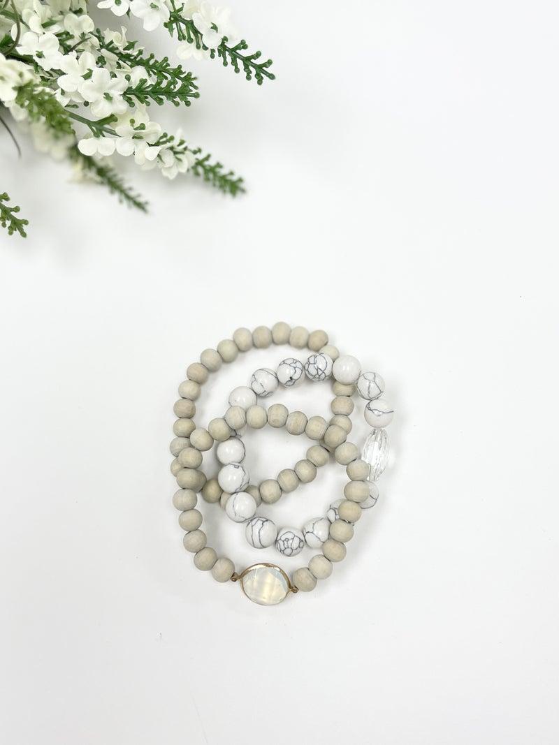 Beaded Stack Bracelets, Natural Stone