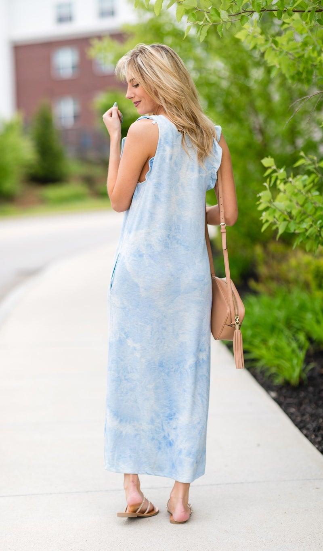 Seasons Change Tie-Dye Dress, Light Blue