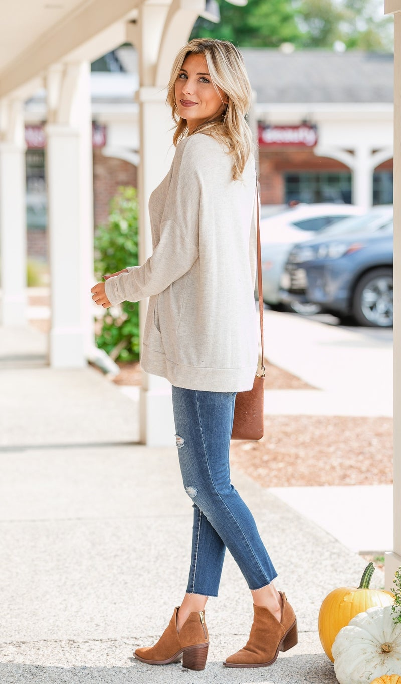 Say YES Hacci Knit Pullover, Oatmeal