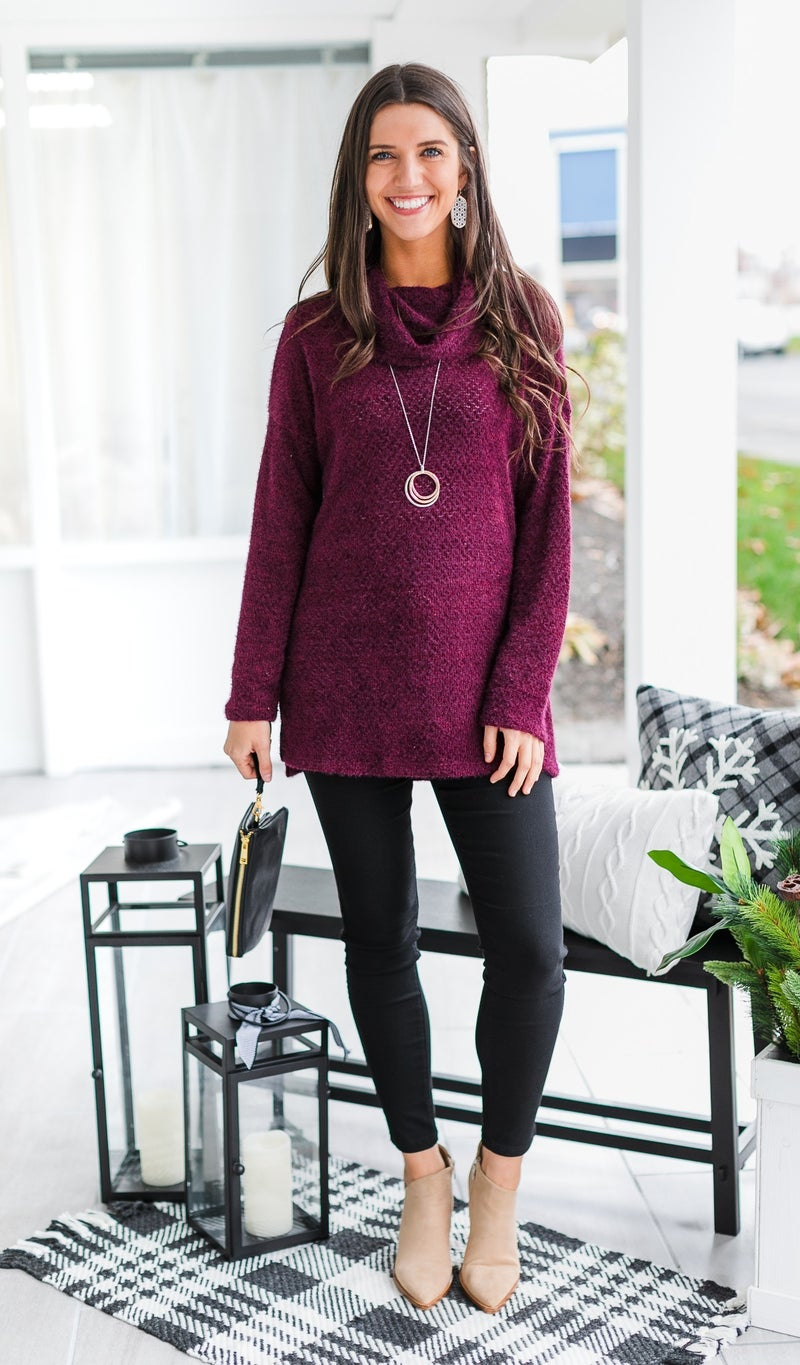 Well Wishes Knit Top, Wine