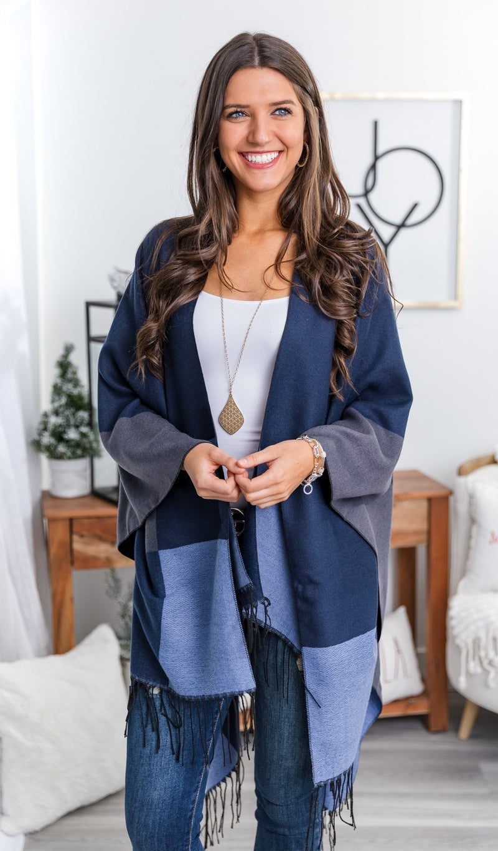 The Erica Shawl, Navy Multi