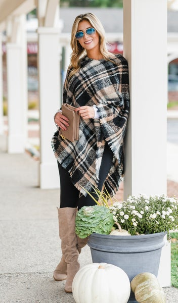 Crisp Autumn Day Poncho, Beige