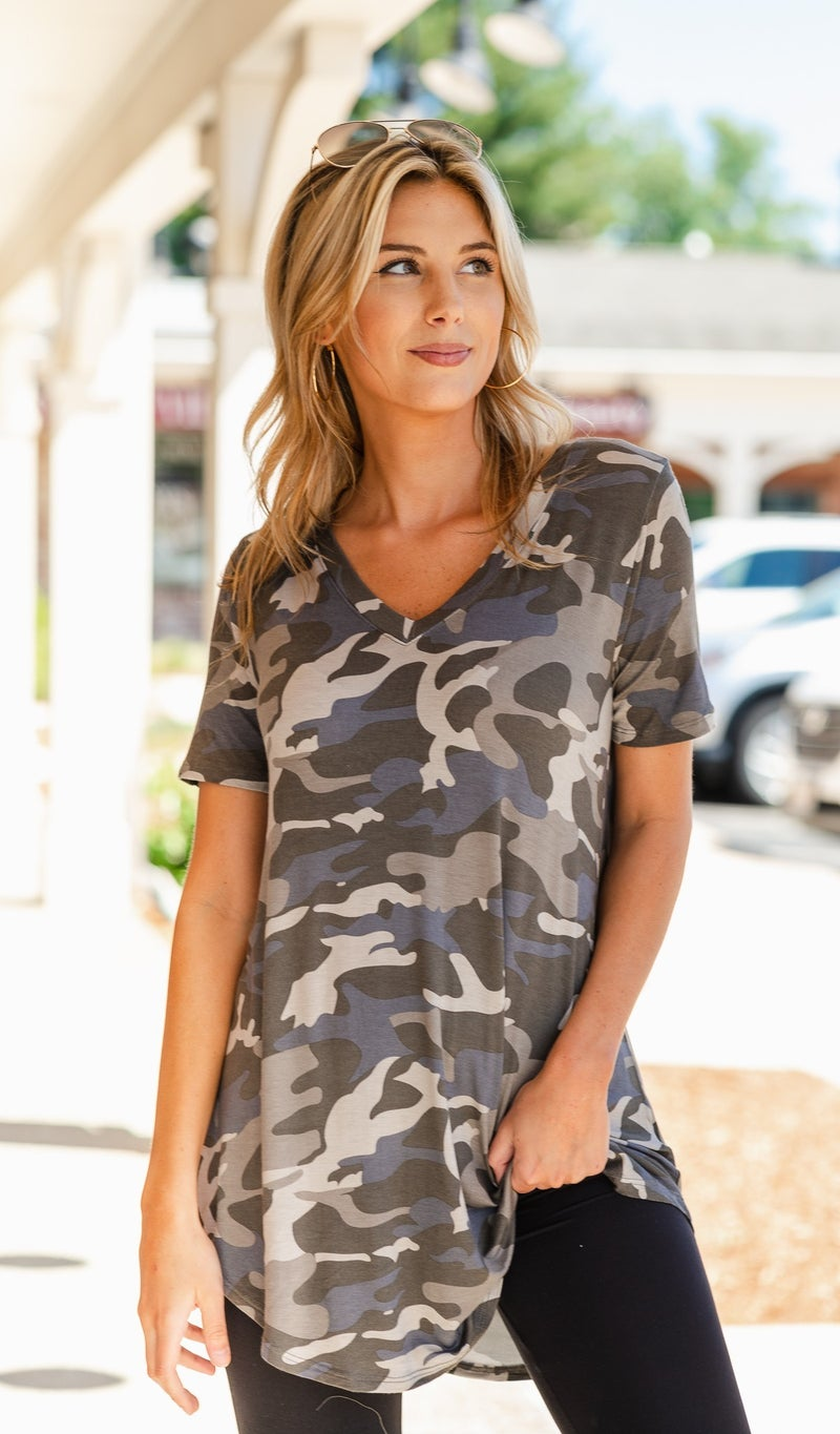 Casual Situation Top, Camo