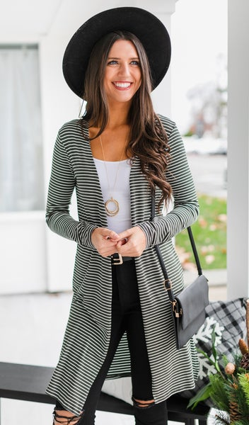 Not Your Average Duster Cardigan, Olive