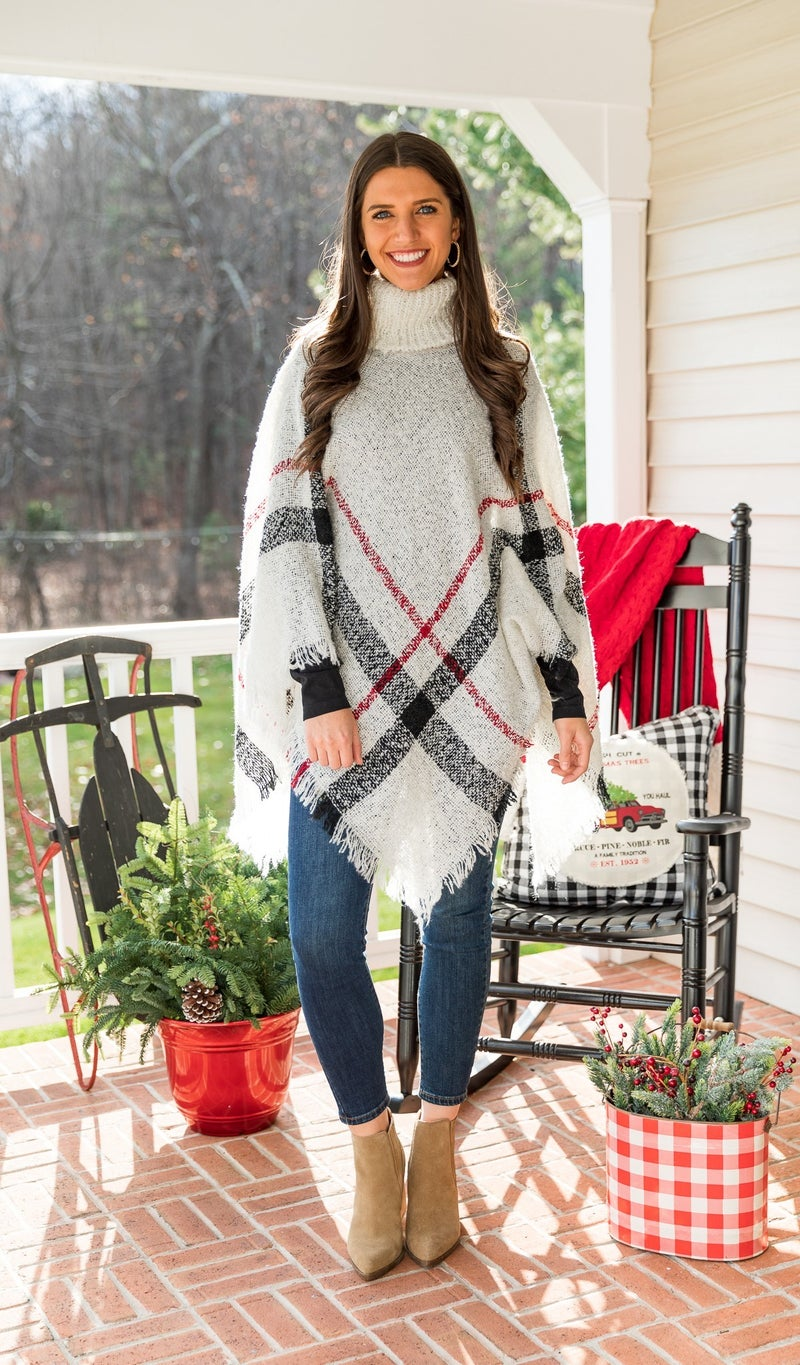 DOORBUSTER!!  Kendall Plaid Poncho, Ivory