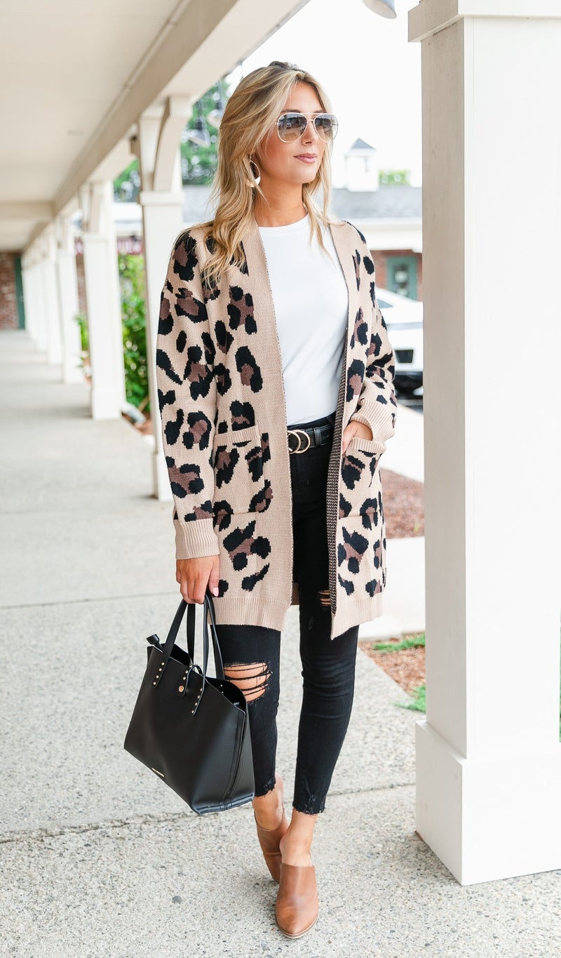 Lux Knit Neutral Print Cardigan, Grey or Taupe