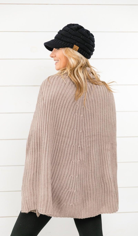 Cozy Winter Cape, Taupe Grey