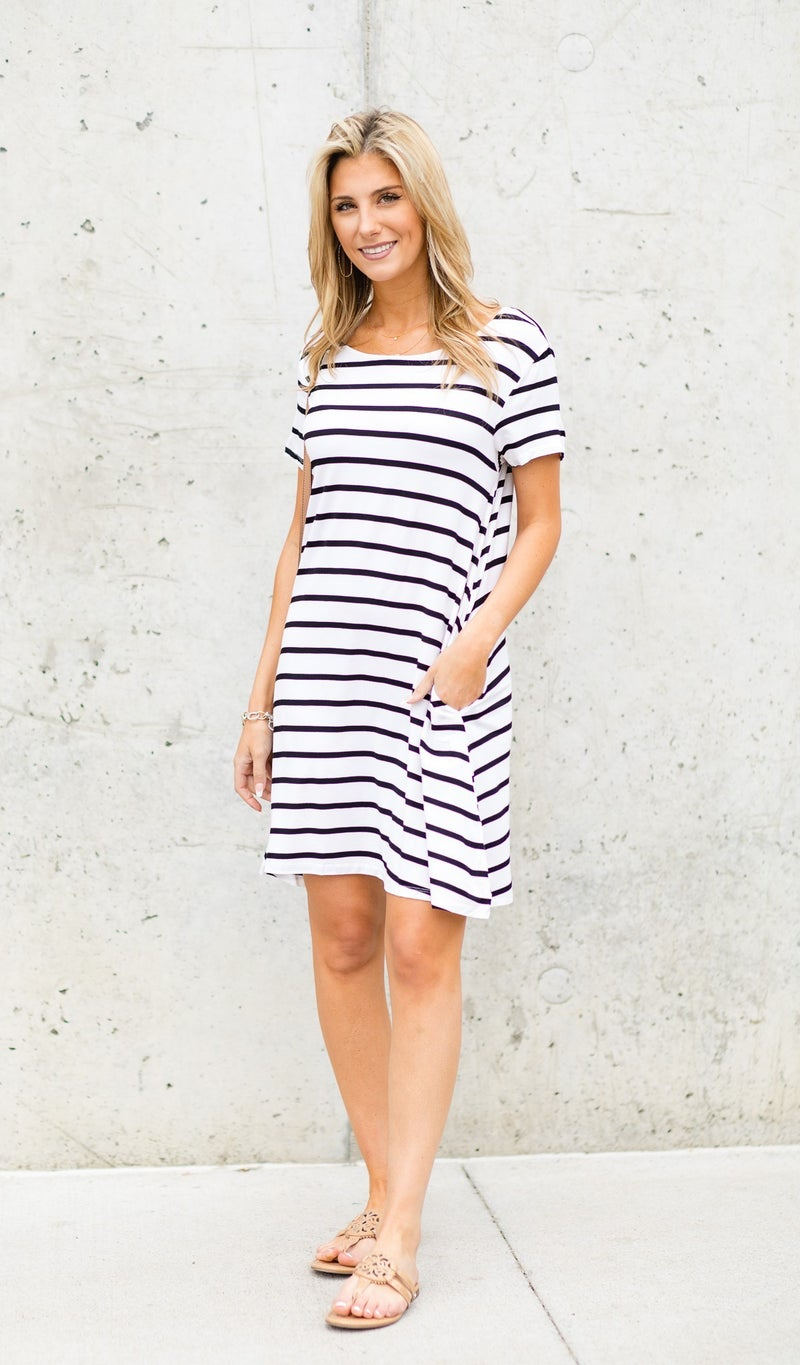 Sunsational Striped Dress, White