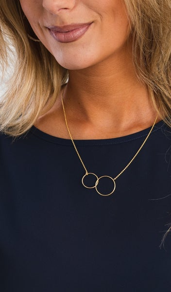 Eternity Circle Necklace, Gold or Silver