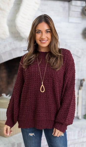 Comfy Days Sweater, Burgundy