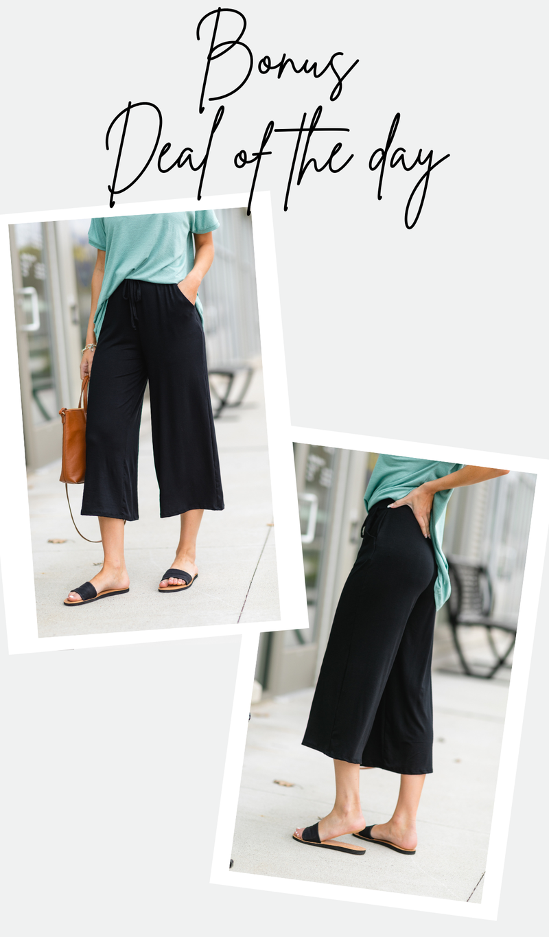The Ava Wide Leg Cropped Pant, Black