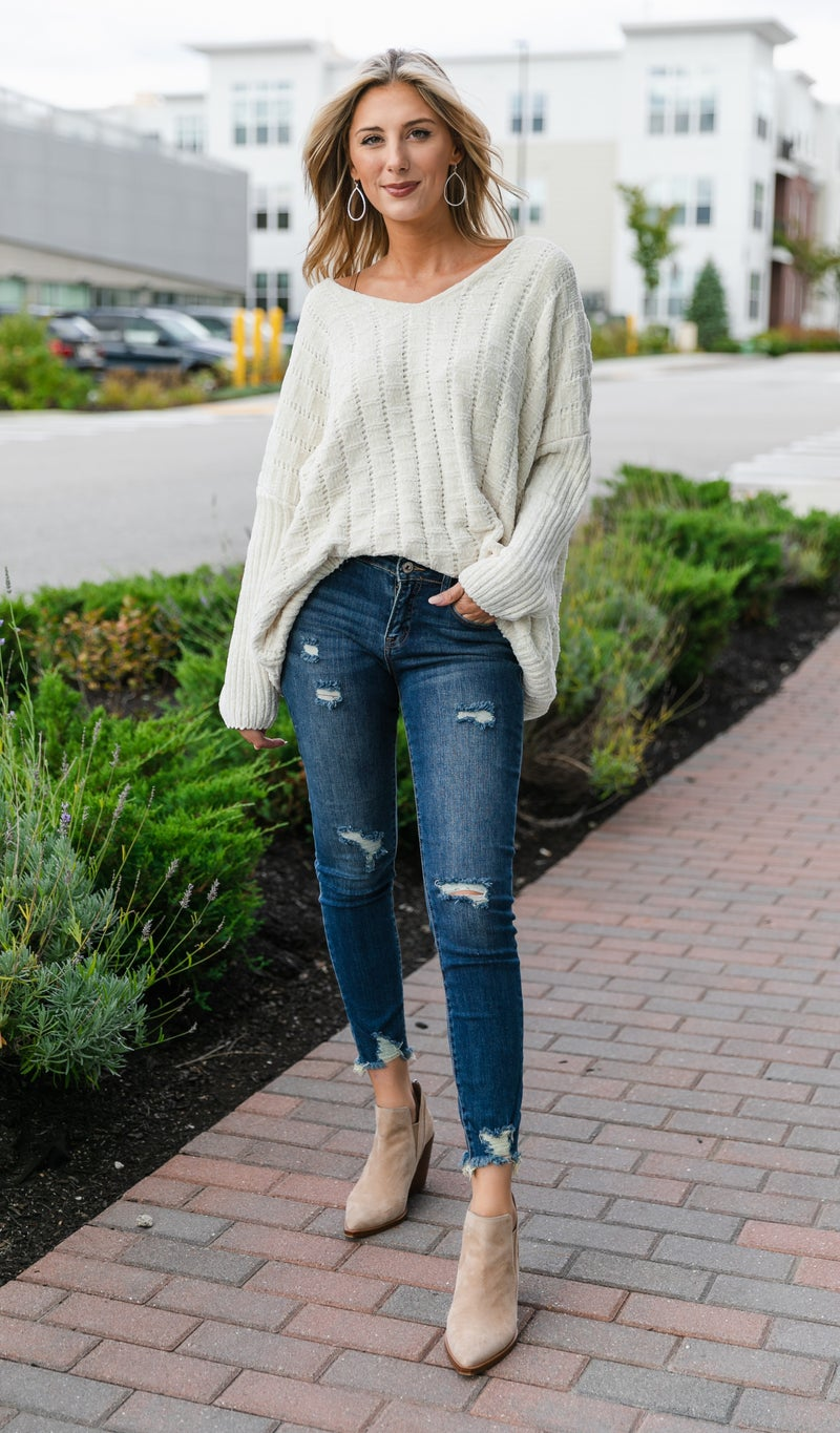 Angelic Cable Knit Sweater, Ivory