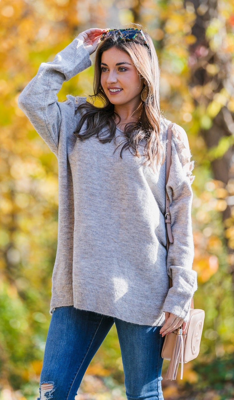 Right on Trend Sweater, Beige