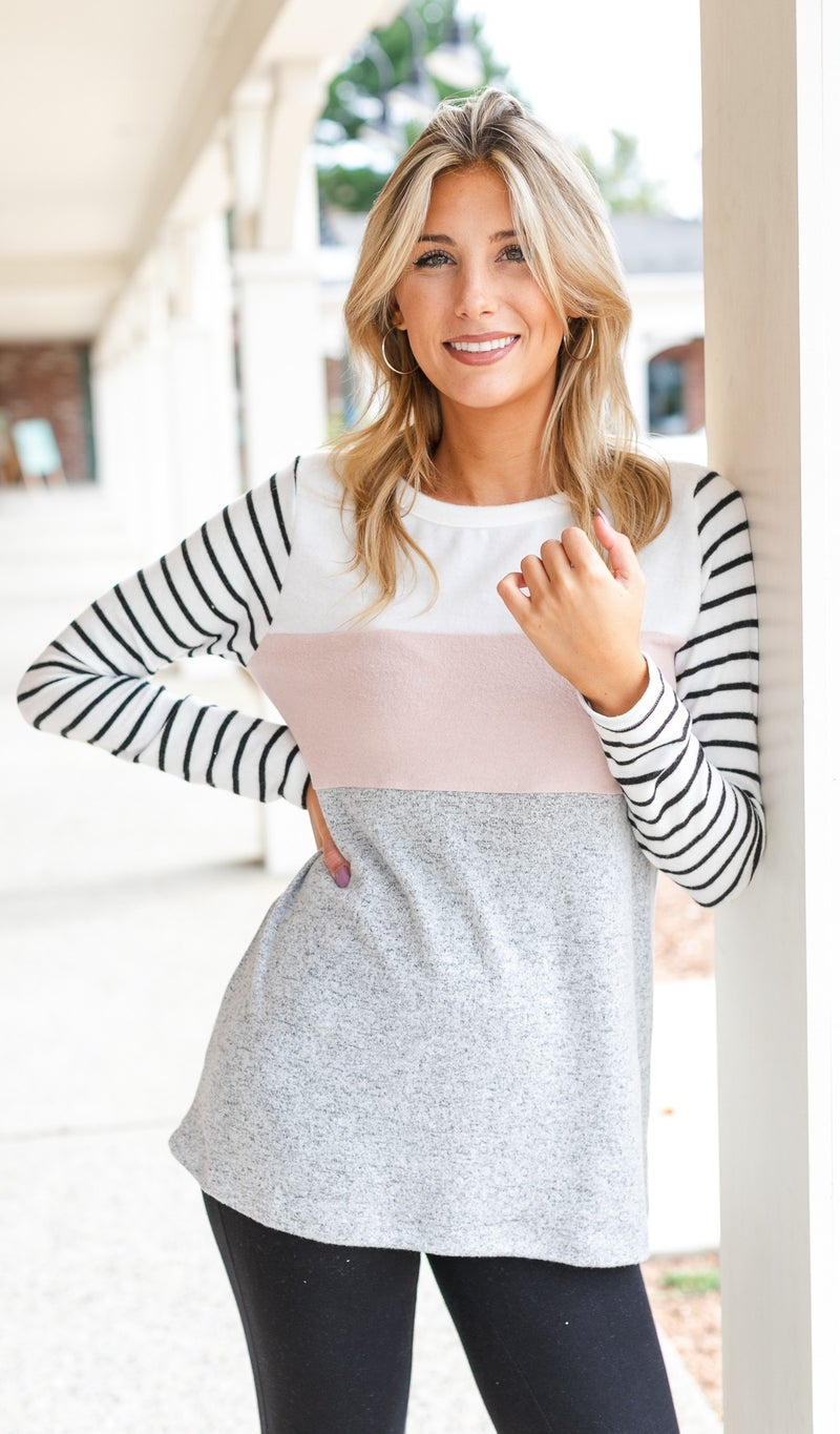 Casual Days Color Block Top, Charcoal Or Pink