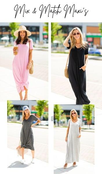 Mix & Match Maxi Dress, Black, Pink, Charcoal or Grey