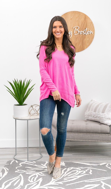 The Charlie Boyfriend Sweater, Hot Pink