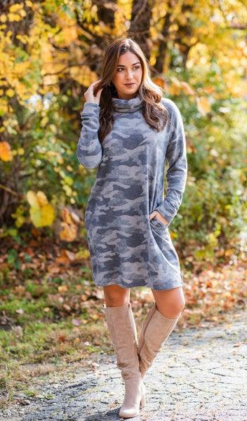 Wishes Come True Dress, Grey Camo