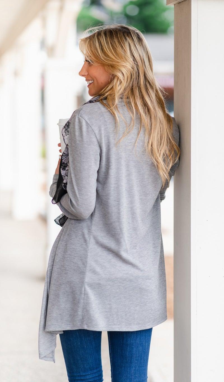 Seasonal Essential Cardigan, Grey