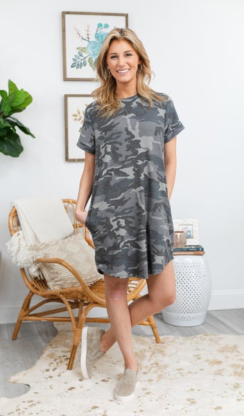 Camo Casual Dress, Grey