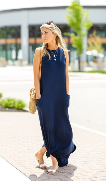 The Bethany Dress, Multiple Colors - NAVY