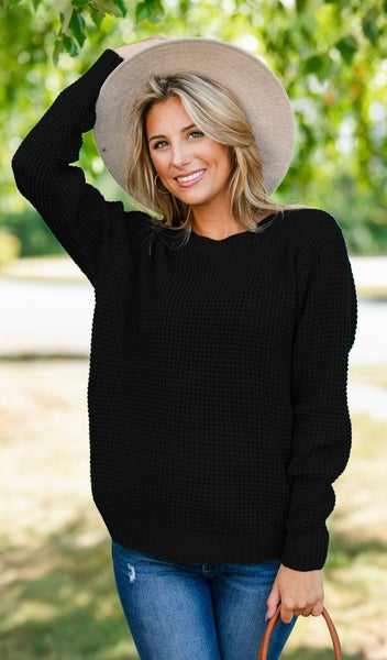 Cozied Up Waffle Knit Sweater, Black