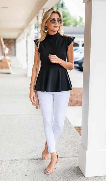 Sedona Peplum Top, Black
