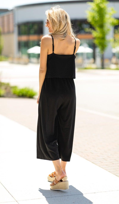 The Elizabeth Jumpsuit, Black or Light Mocha