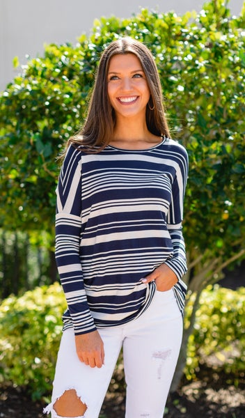 Brayden Stripe Tunic, Navy