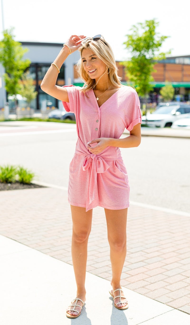 The Riley Romper, Pink Chambray