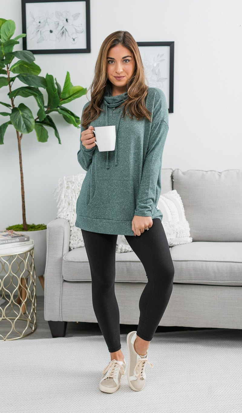 Say YES Hacci Knit Pullover, Hunter Green