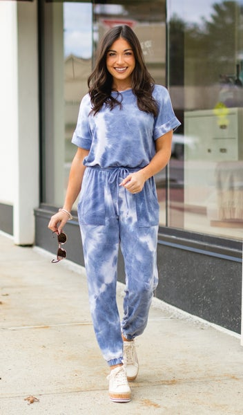 Dreamy Nights Jumpsuit, Blue Grey