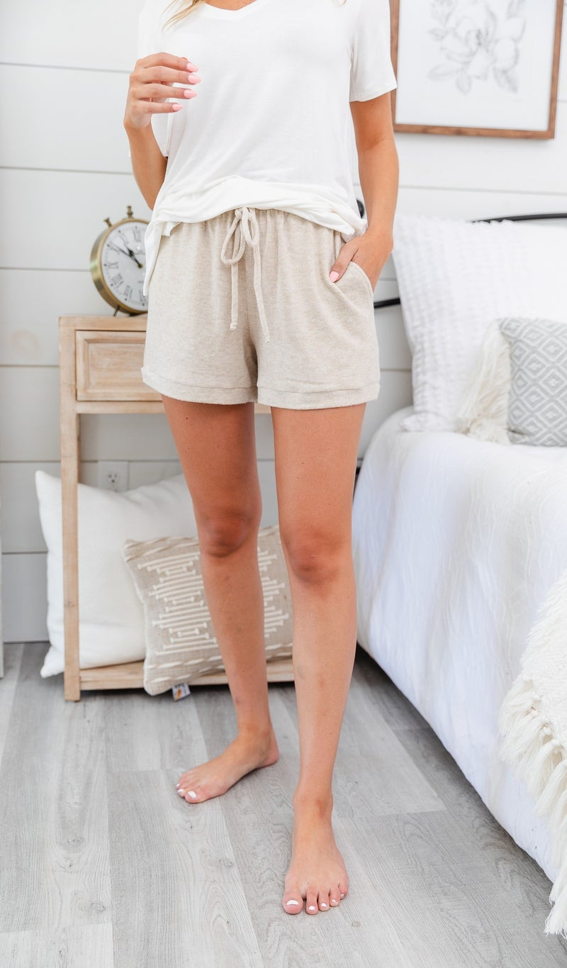 Stay In Brushed Knit Shorts, Oatmeal, Teal or Grey