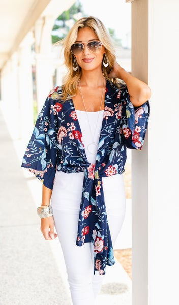 Summer Breeze Kimono, Navy