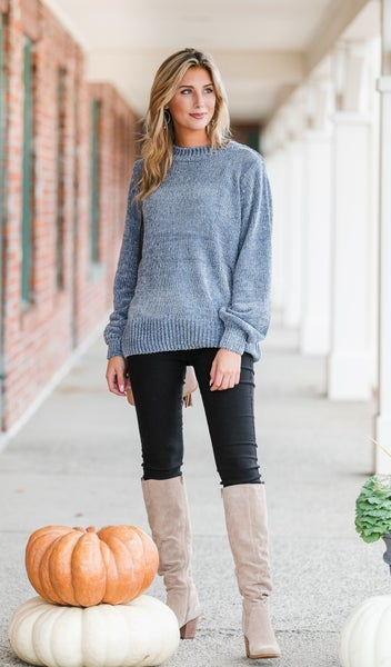 Cozy All Day Sweater, Sky Blue