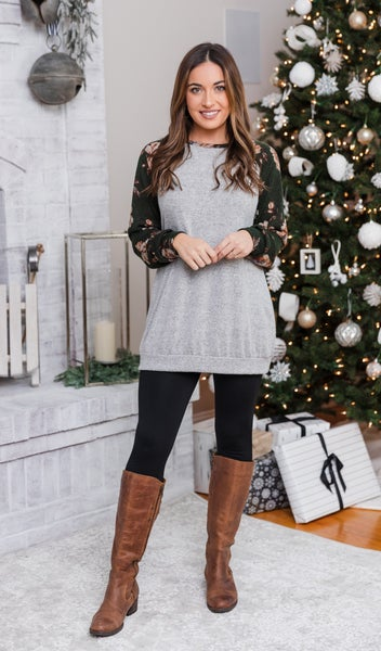 Sweet On You Top,  Heather Grey/Olive