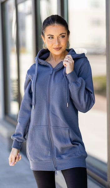 On The Dock Zip Hoodie,  Slate Blue