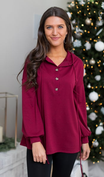 The Henley Top, Burgundy or Charcoal