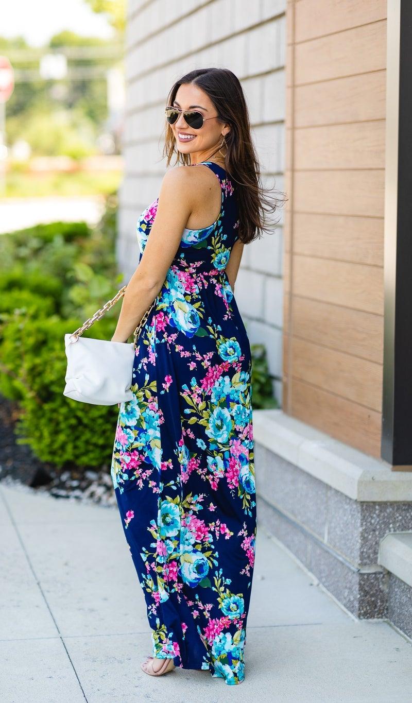 The Flower Field Maxi Dress, Navy