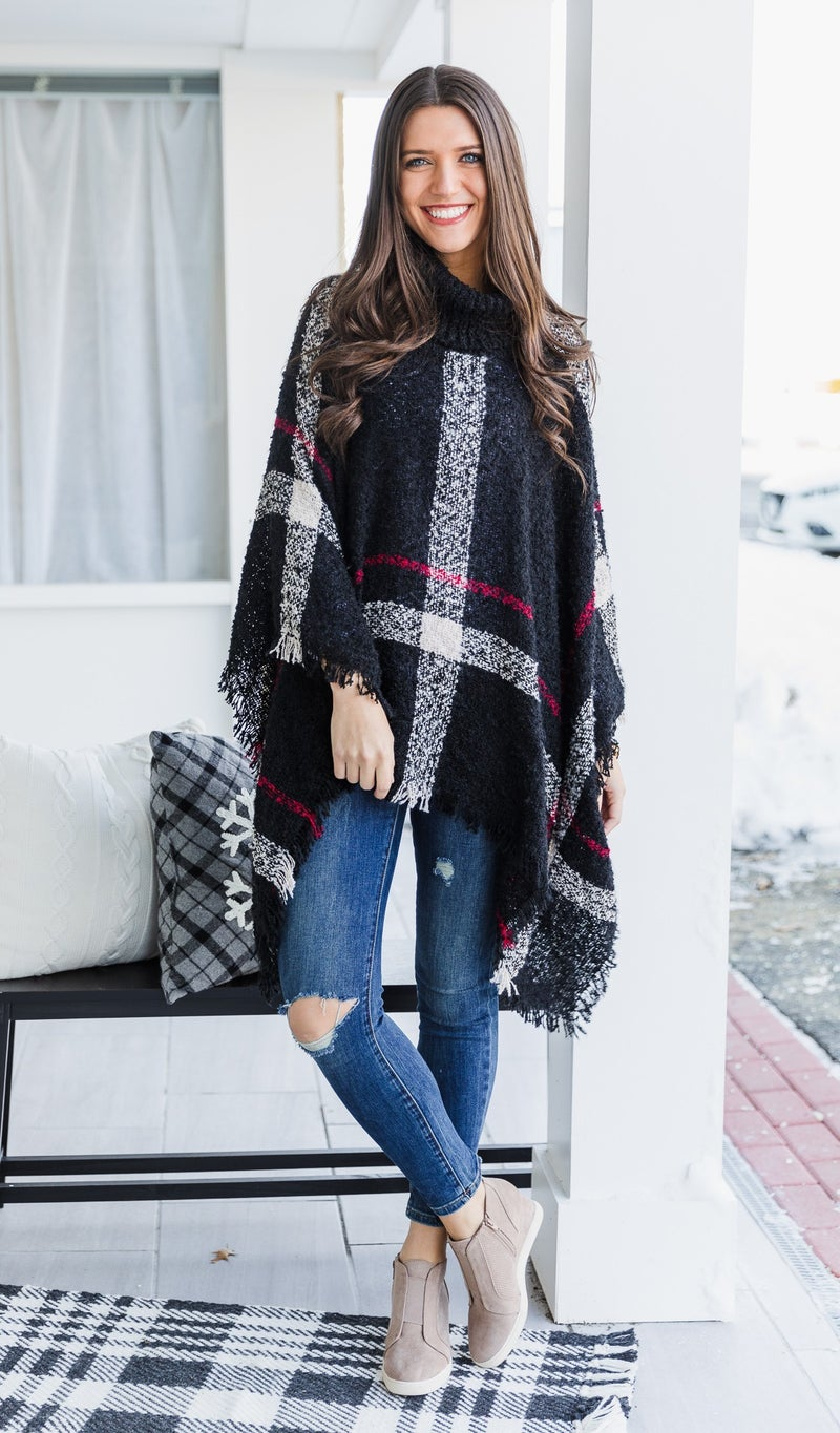 DOORBUSTER!!  Kendall Plaid Poncho, Black
