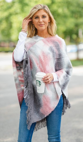The Watercolor Poncho, Pink