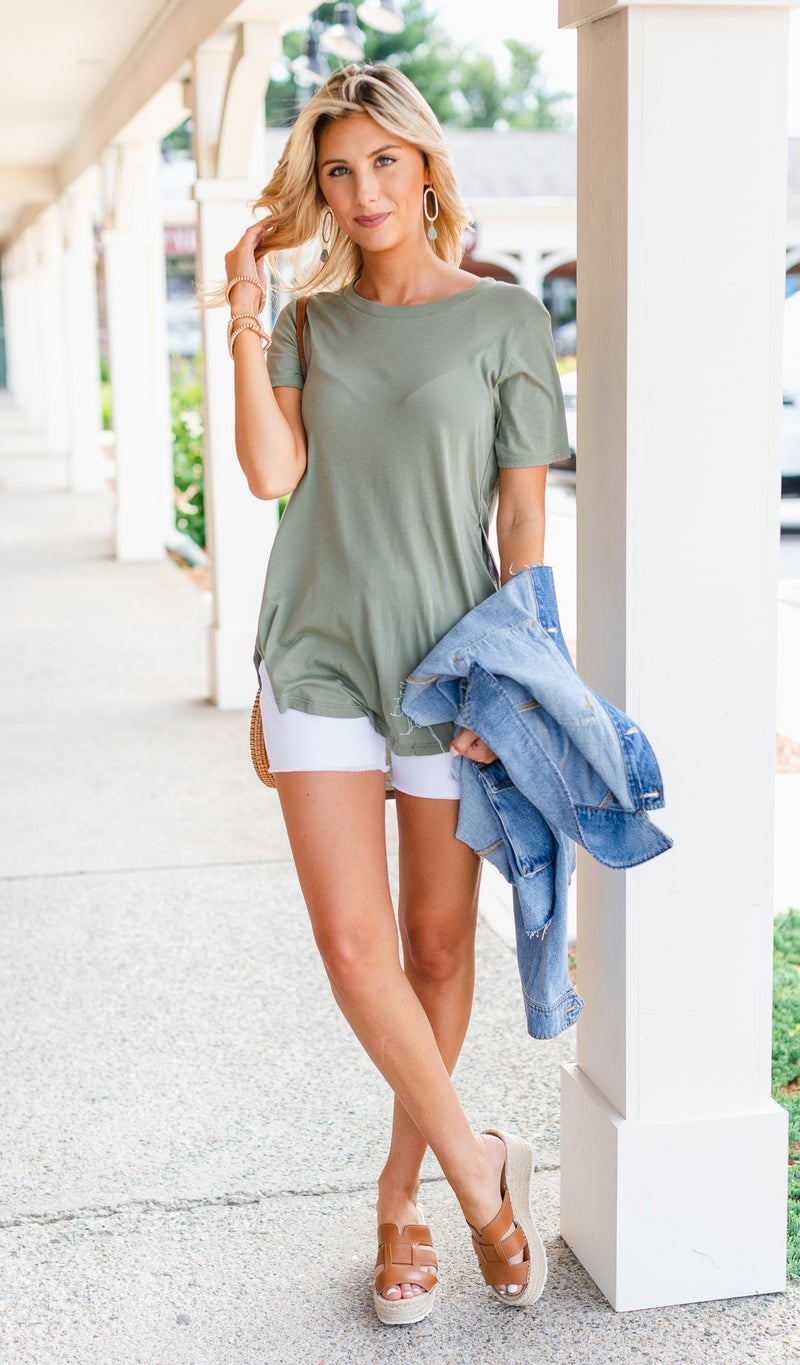 In July Tee, Olive, Black, Grey or Ivory