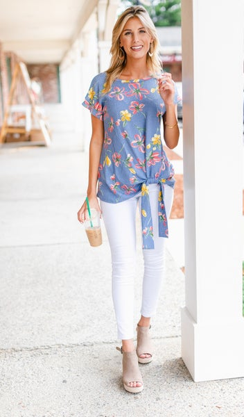 Willow Floral Top, Ivory or Blue