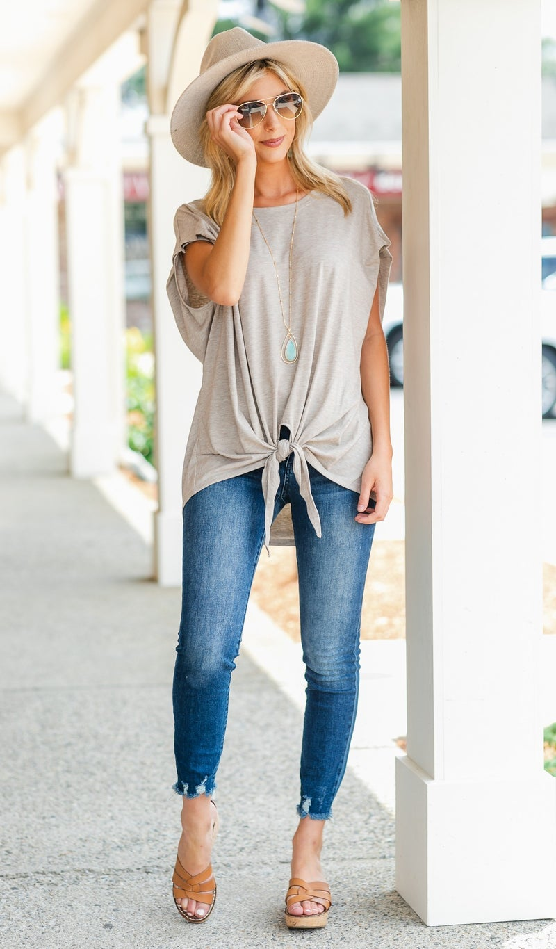 Callie Front Tie Tee, Oatmeal