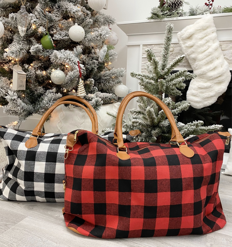 Buffalo Check Weekender Bag, Red or Ivory
