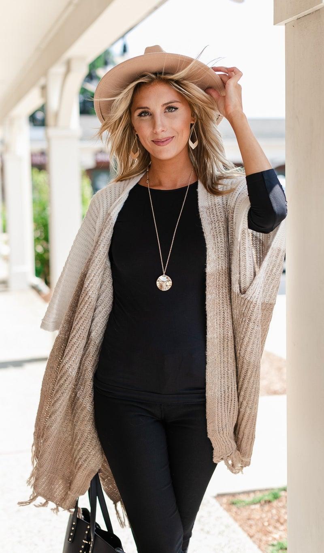 Knit Dreams Striped Sweater/Cardigan, Neutral