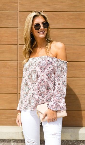The Brittney Blouse, Pink Multi