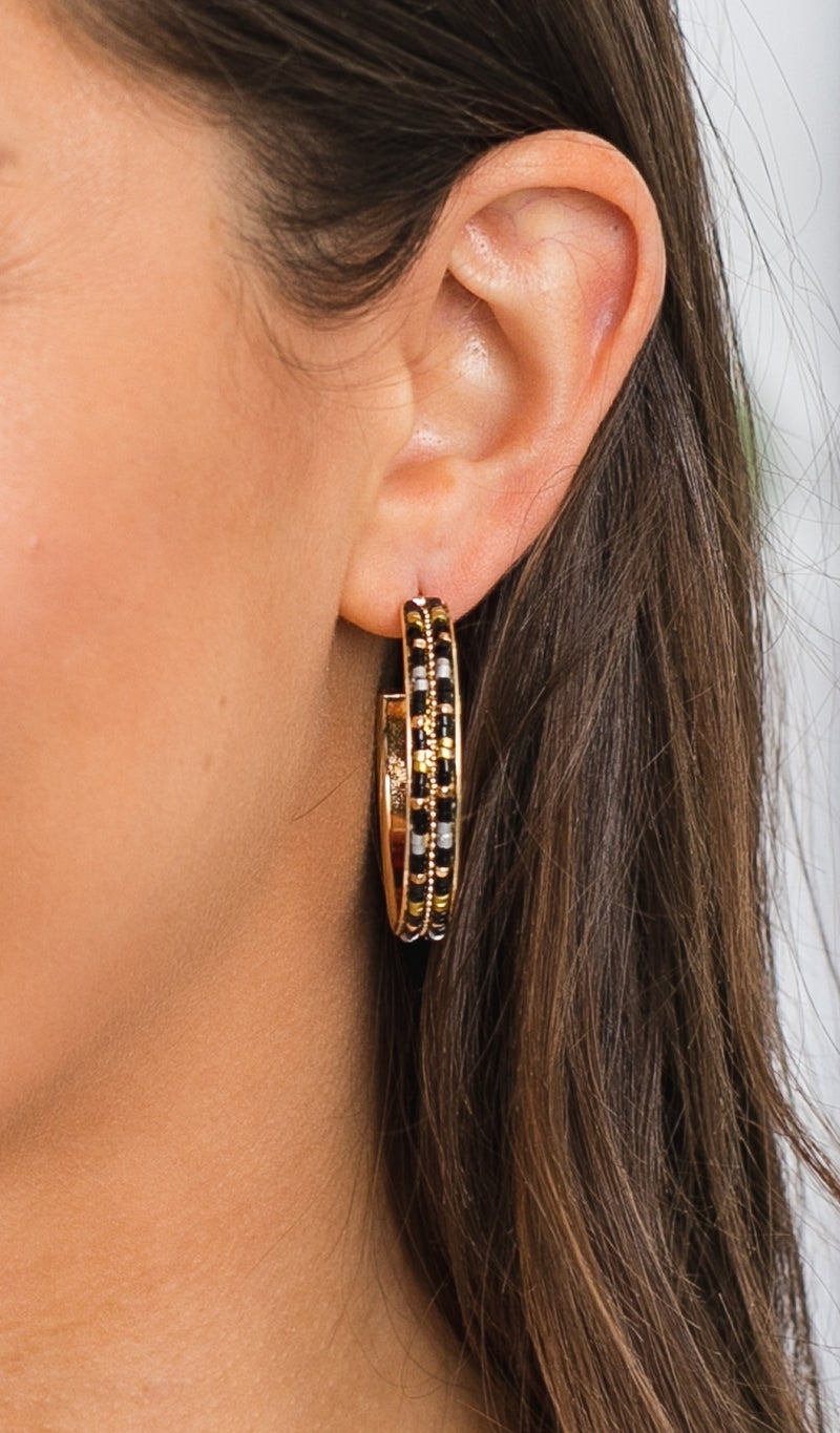 Night or Day Beaded Hoops  Black & White