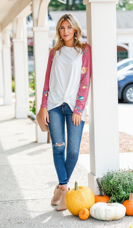 Grab N' Go Ivory Top/Tunic, Burgundy Floral Sleeve