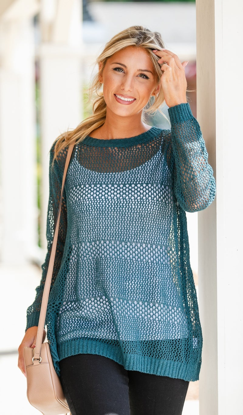 By The Pier Knit Sweater, Teal