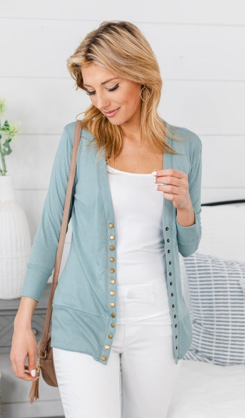 Here To Stay Cardigan, Pale Blue